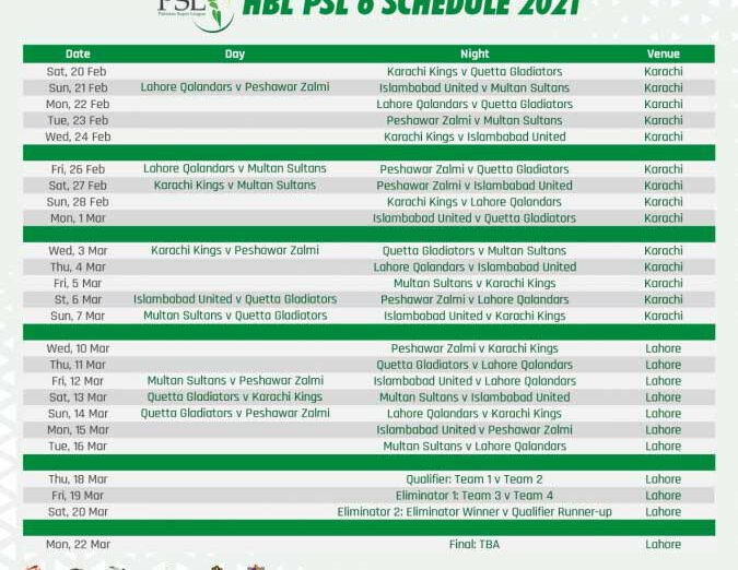 HBL PSL 2021 will commence from 15 February